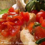 Cherry tomato, garlic and basil bruschetta