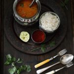 Taste of India: green and orange bell pepper curry with basmati rice