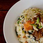 Wild garlic & wild mushroom risotto [lacto-vegetarian]
