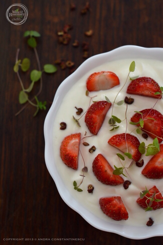Yogurt, strawberries, sichuan red pepper