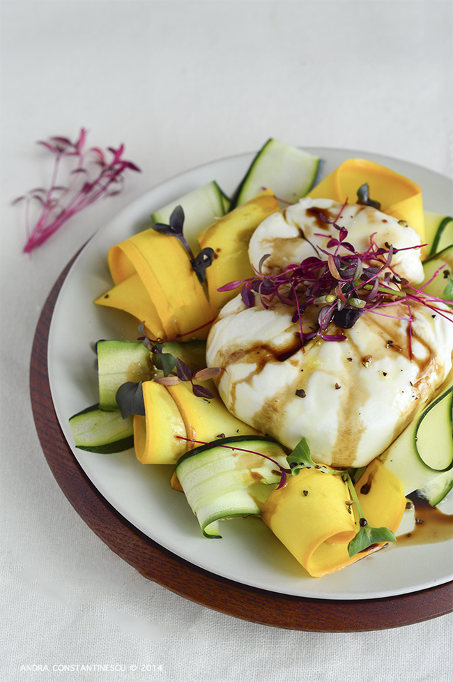 Burrata di Puglia with courgette and balsamic vinegar