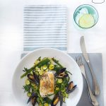 Hake fillet with mussels and baby courgette