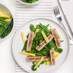 Tuna steak with warm winter greens