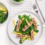 Tuna steak with warm winter greens