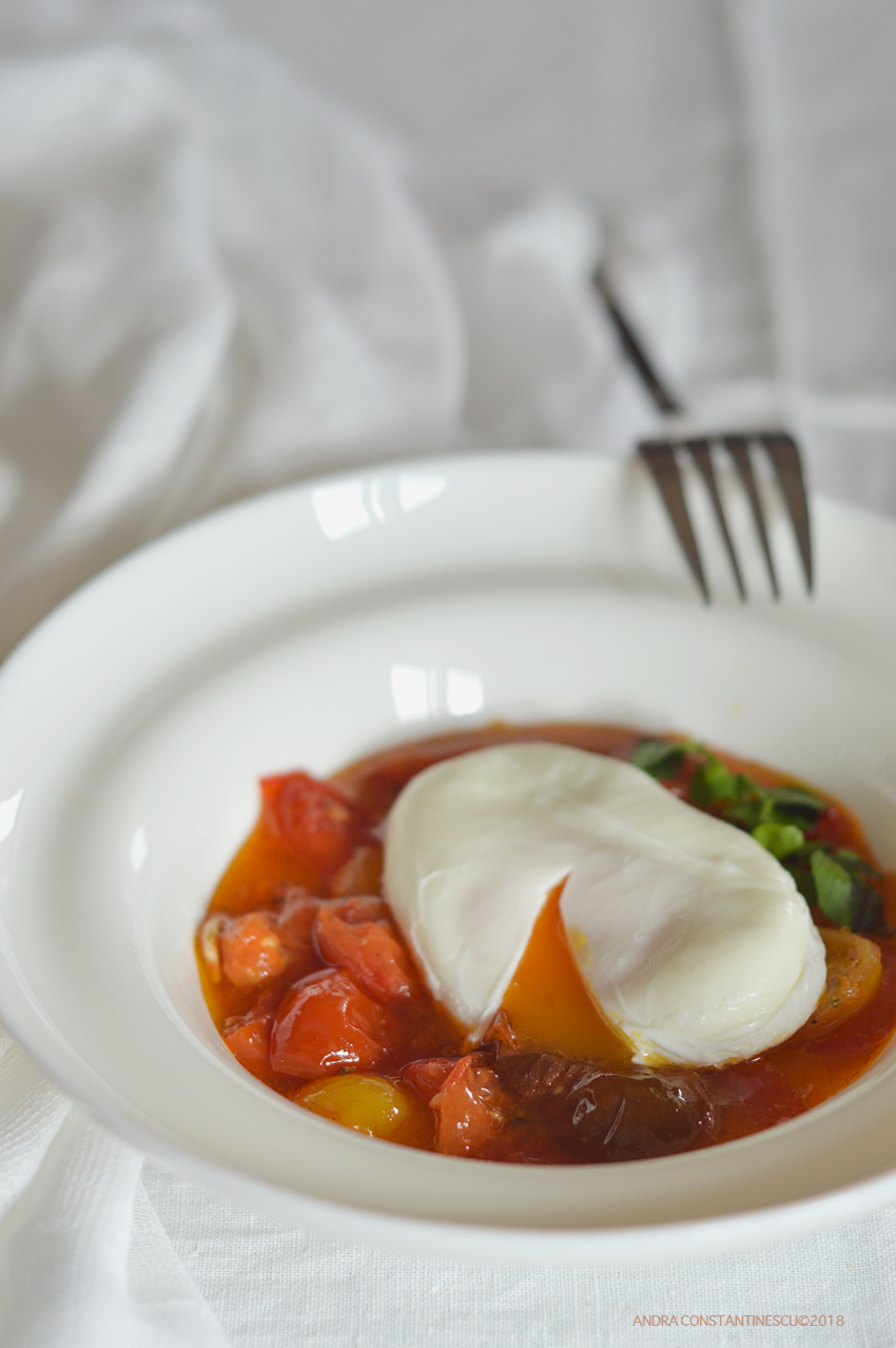 Low Calorie Breakfast Confit Tomato With Poached Egg